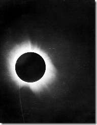 "Eddington's photograph of a solar eclipse, which confirmed Einstein's theory that light ""bends."" On 7th November 1919, the leading British newspaper The Times printed a banner headline that read: ""Revolution in Science – New Theory of the Universe – Newtonian Ideas Overthrown."""