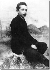 Albert Einstein in 1893 (age 14). From Euclid, Einstein began to understand deductive reasoning, and by the age of twelve, he had learned Euclidean geometry. Soon after he began to investigate infinitesimal calculus. At age 16, he performed the first of his famous thought experiments in which he visualized traveling alongside a beam of light.