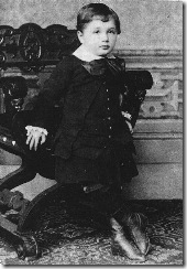 "Einstein at the age of 4. His father showed him a pocket compass, and Einstein realized that there must be something causing the needle to move, despite the apparent ""empty space."""