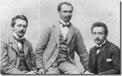 Left to right: Conrad Habicht, Maurice Solovine and Einstein, who founded the Olympia Academy