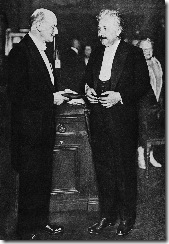 Max Planck presents Albert Einstein with the Max Planck medal of the German Physical Society, 28 June 1929, in Berlin, Germany